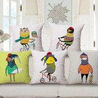 Cartoon Animals Home Decorative Pillows Coffee Bar Car Cojines Throw Sofa Waist Pillow Cotton Linen Decoration Cushion