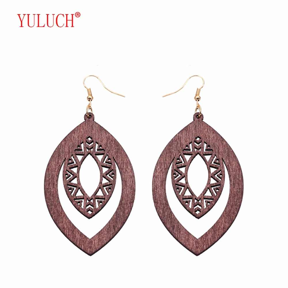 YULUCH 2018 Pop Boho Hollow Design Elliptical Wooden New Arrival Earrings for Personality Woman Gift Jewelry