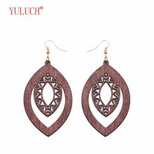 YULUCH 2018 Pop Boho Hollow Design Elliptical Wooden New Arrival Earrings for Personality Woman Gift Jewelry(China)