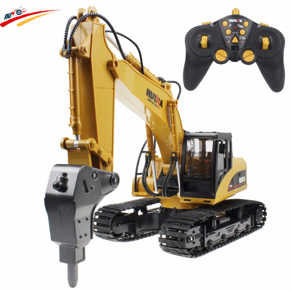RC Drilling Truck Alloy Hammer Excavator 16 Channel 2.4G Rechargeable Sound and Light Demo Remote Control Drilling Model Toy