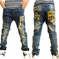 2018 Spodnie Jeans Chłopcy Moda Chłopców Dżinsy Na Wiosnę Jesień Elastyczny Pas Stworzone Spodnie Jeansowe Spodnie Dla Dzieci Dzieci Niebieskie Łaty