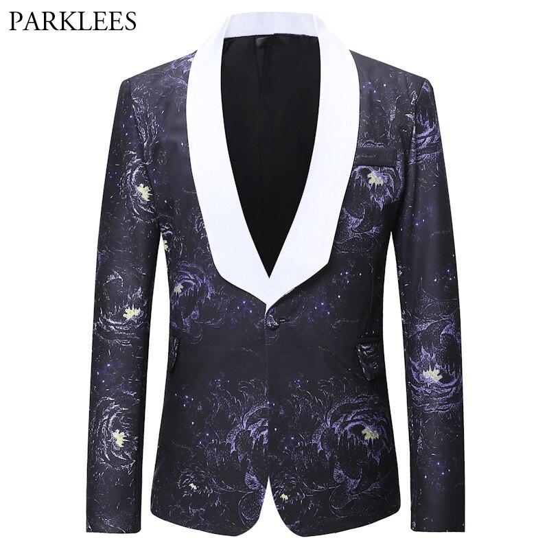 Mens Floral Blazer Novelty 3d Flamingo Luxury Print Casual Suit Jacket Fashion Plus Size 3xl 4xl Costume Party Blazers Hombre Men's Clothing Blazers