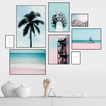 Pink Flower Beach Tower Coconut Wall Art Canvas Painting Landscape Nordic Posters And Prints Pictures For Living Room Decor