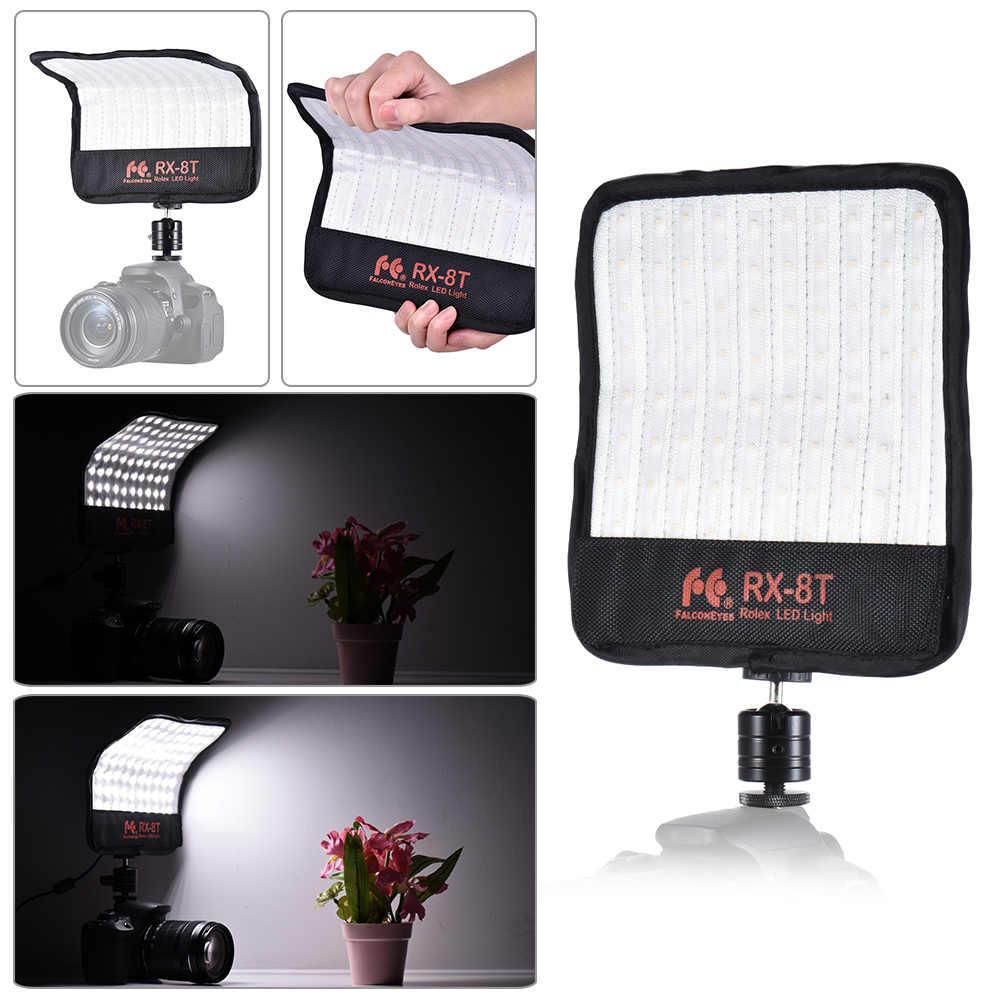 TPOTOO FalconEyes RX-8T 16W Mini LED Light Dimmable 5600K CRI94 Flexible Cloth On-Camera Lamp Daylight Splashproof for Video Studio Photography