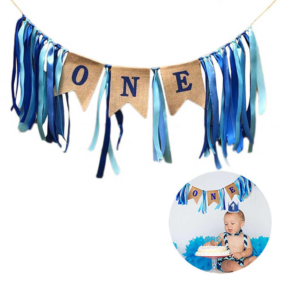 1 шт. баннер для дня рождения высокий стул ребенка украшения синий цвет
