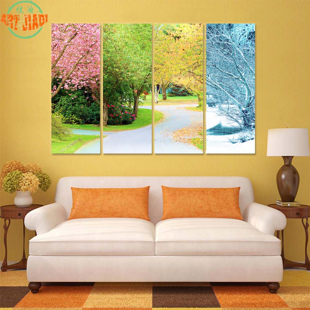 4 Piece Canvas Art A Cherry tree; Four Patterns in Four Seasons ...