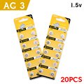 20Pcs/2card Ag3 Cell Coin Battery Limited 392 1.5V LR41 192 SR41 Lithium Battery Li-ion Coin Cell Batteries Size 7.9*3.6mm For