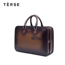 TERSE 2018 New Handbags Genuine Leather Men s Laptop Handmade Technology Bag