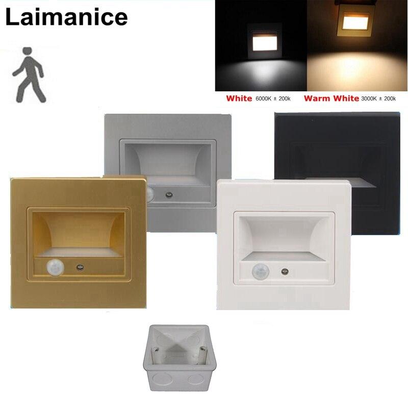 10 Teile/los 1,5 W Einbau Led Treppen Licht Innen Licht + Pir Motion Sensor Led Schritte Leiter Wand Fuß Lampe Mit 86 Bottom Typ Box