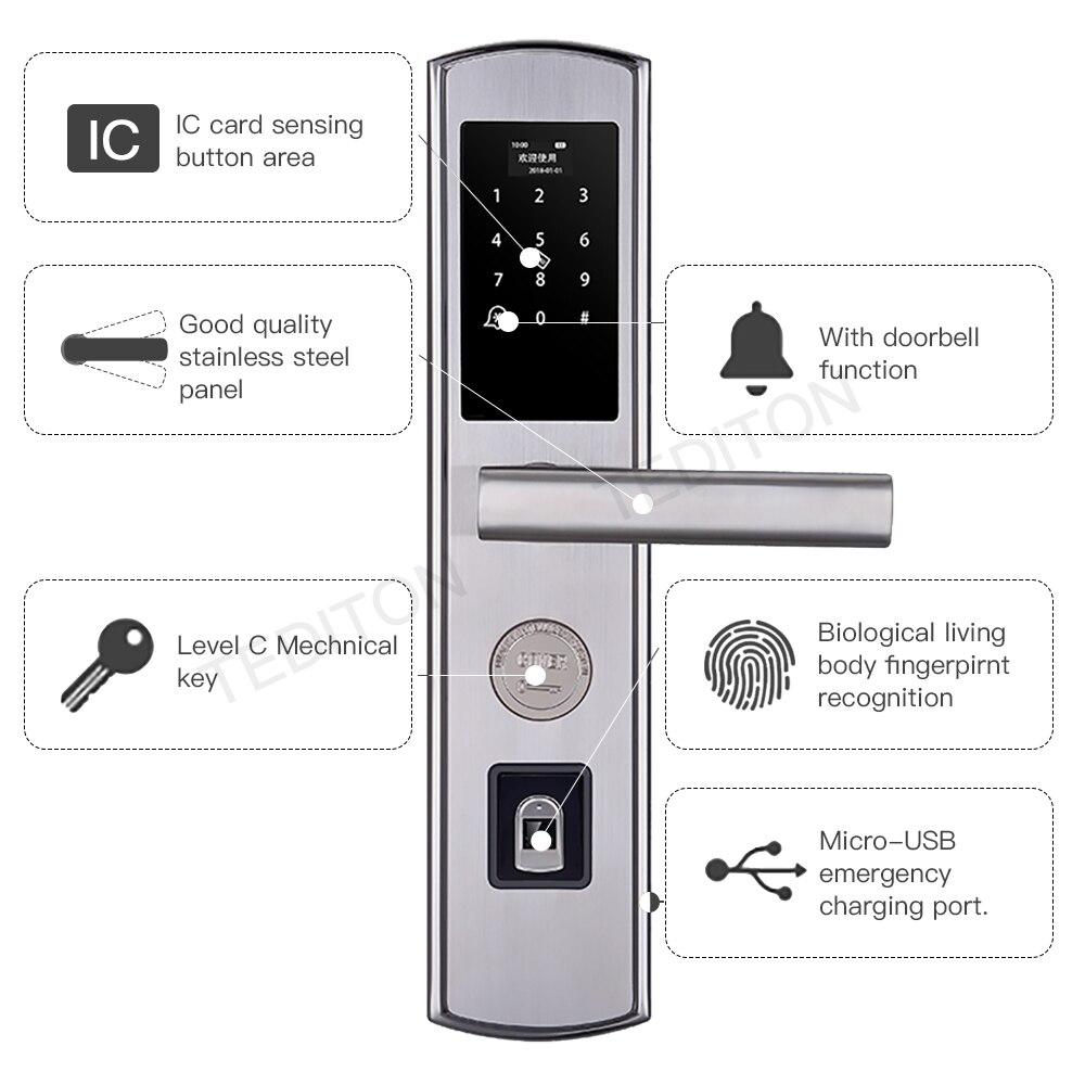Serrure de porte numérique intelligente serrure de porte d'empreinte digitale électronique contrôle de serrure sans clé biométrique intelligente Double face serrure de porte d'empreinte digitale