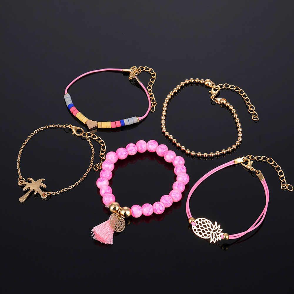 5 шт./компл. богемного бахромой жемчужный браслет Дамская мода девушка сердце браслет с подвеской и геометрическим дизайном, ювелирные изделия