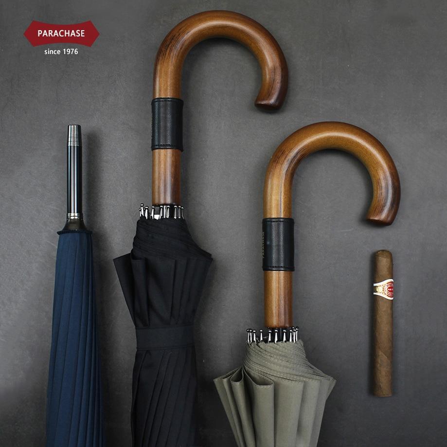 Parachase grand parapluie en bois coupe-vent 16 côtes affaires japonais Long poignée parapluie pluie femmes hommes 120 cm Golf clair parapluie