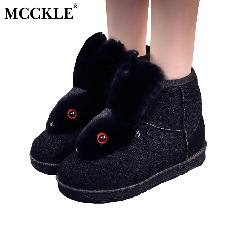 MCCKLE Female Rabbit Ears Furry Warmer Plush Ankle Snow Boots Woman Rubber Winter Suede Slip On Black Fashion Platform Shoes