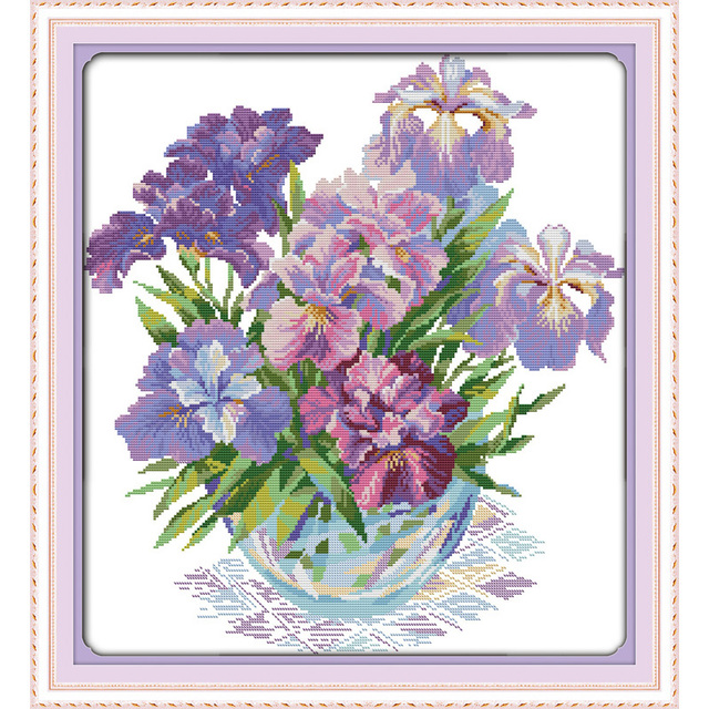 US $11 2 44% OFF|Purple iris floral free cross stitch patterns flowers 14CT  Cross Stitch kits,needlework embroidery for Set,DIY Crafts Home Decor-in