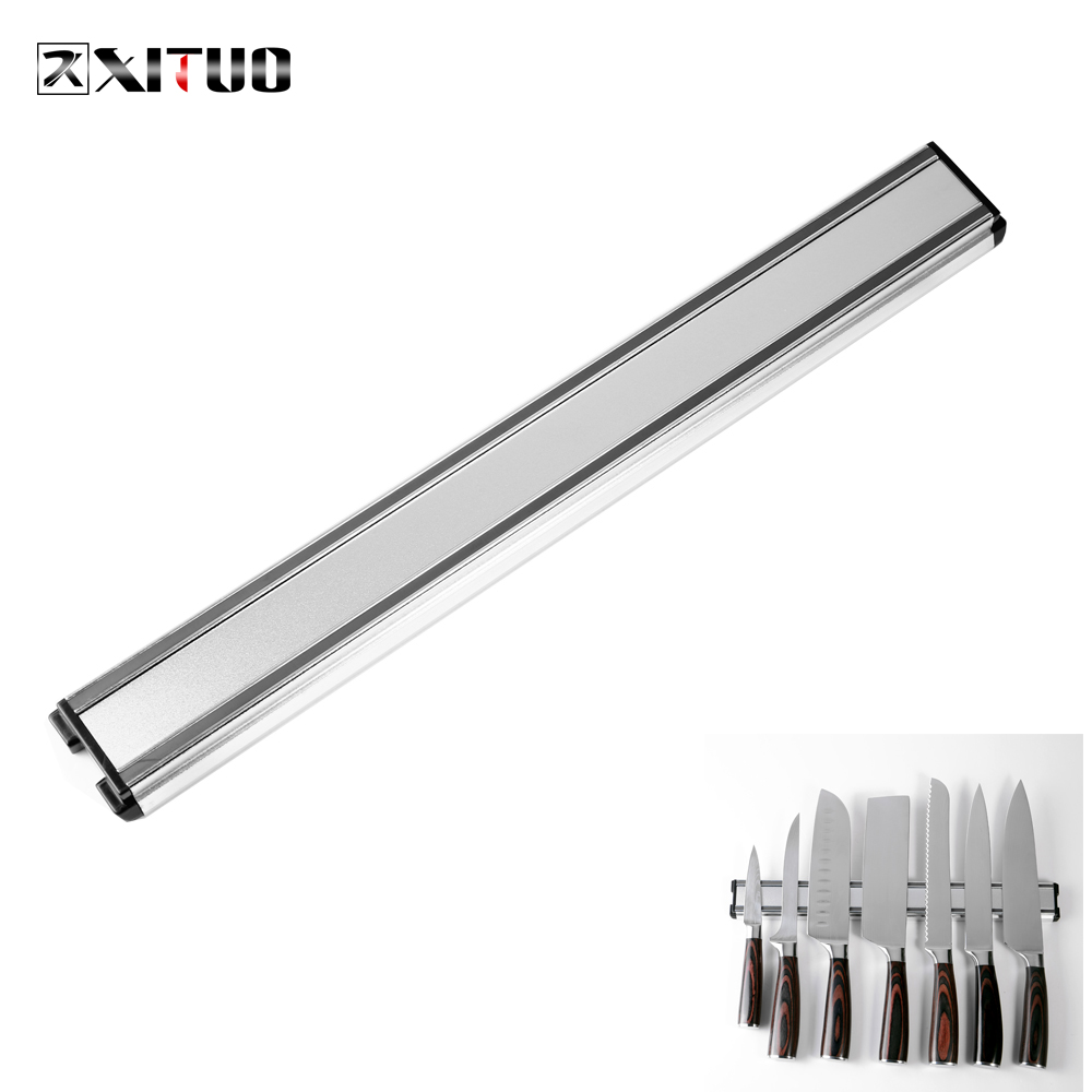 XITUO Kitchen Knife Holder Aluminum Wall-mounted Magnetic Knife Holder Damascus Chef Knife Meat Cleaver Knife Storage Holder