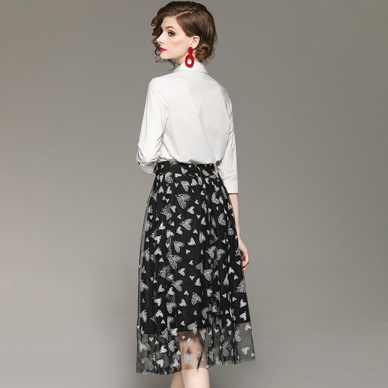 Motif De Set Femme En Coeur 3 Bouton Gaze Automne Mode Outfit Jupe Chemise Blanche 4 Blanc Printemps Noir Manches Vêtements Ensemble Twxw5OFqR