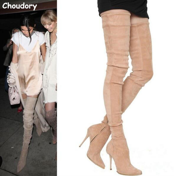 Fall Designer Slim Stretch Thigh High Boots Stiletto High Heels Runways Shoes Woman Autumn Women Suede Boots Pointed Toe Shoes beige black grey stretch suede thigh high boots stiletto high heels 2017 new fall celeb women shoes pointed toe women boots