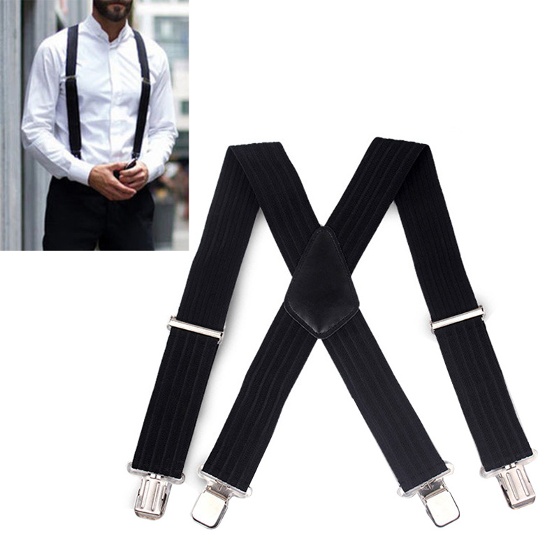 Men Clip-on Braces Elastic 5cm Wide Suspenders Gallus 5x100cm Adjustable Strap with 4 Clips FP8