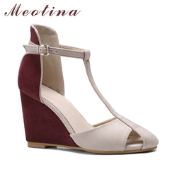 Meotina Shoes Women Pumps High Heels Wedges Heels T-Strap Shoes Spring Ladies High Heel Shoes Cutout Party Pumps Summer Blue Red 2