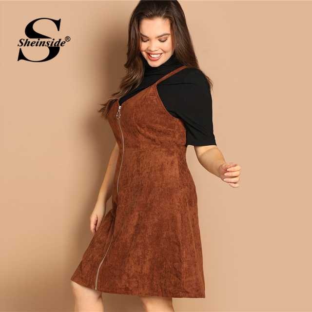 Sheinside Brown Plus Size O-ring Zip Front Corduroy Pinafore Women Dress Casual Sleeveless Ladies Dresses 2019 Fall A Line Dress 2