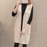 sleeveless long Sweater Women Cardigan Spring autumn Warm Loose Sweater Knitted Cardigan With Pocket fashion Jacket Outwear Coat