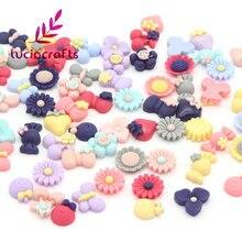 50 piezas de múltiples flores de resina de estilo/pajarita cabujón plano DIY Scrapbooking adornos accesorios F0607