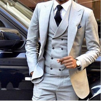 Light Grey Wedding Suits Slim Fit 3 Piece Wedding Tuxedo Groom Groomsman Suit Custom Men Suits for Wedding (jacket+pant+vest)