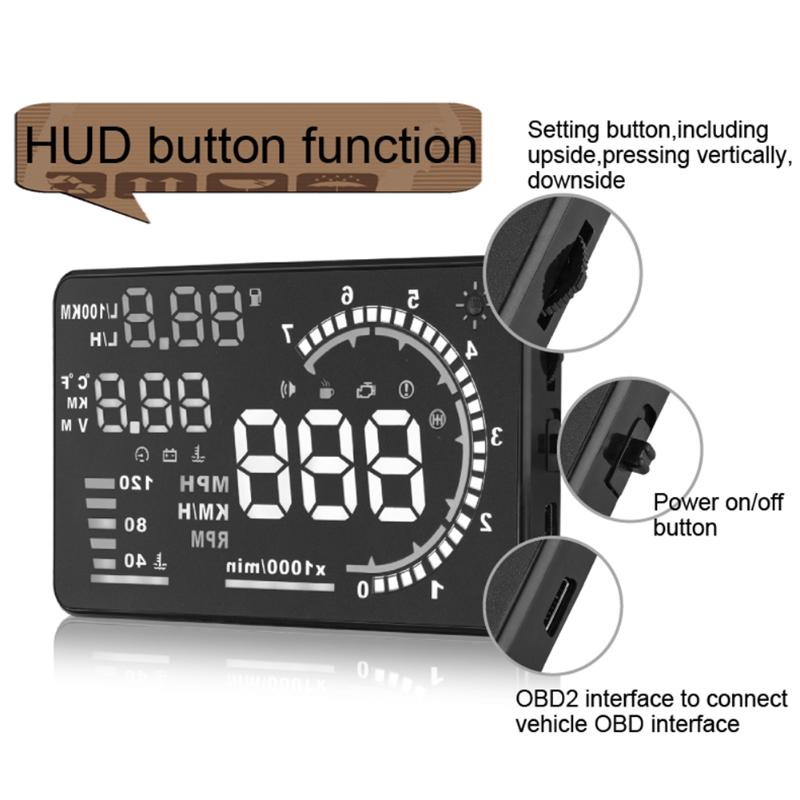 We Sell 5.5 inch A8 High Definition HUD Head-up Display OBD2 EUOBD Projector