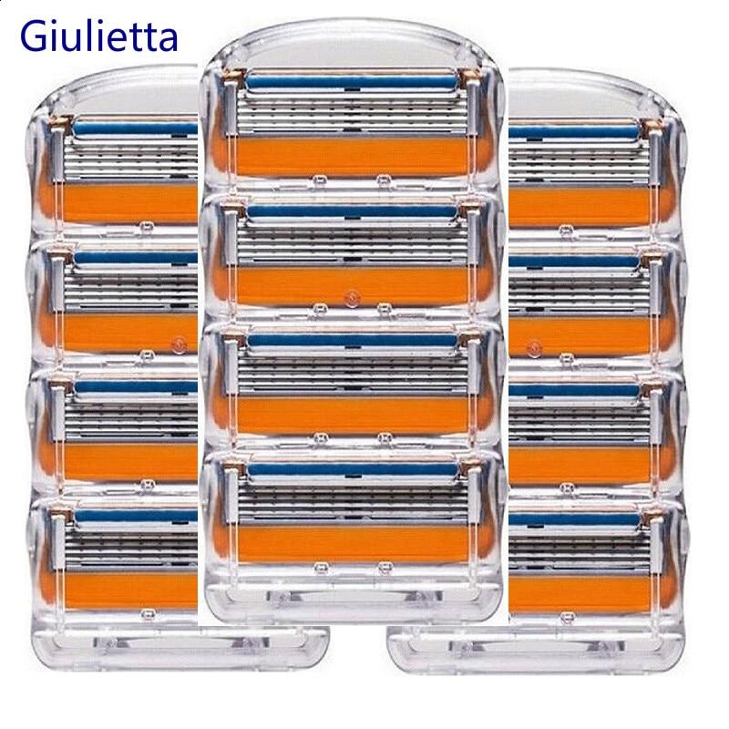Giulietta Men Razor Blades High Quality Shaving Cassettes Facial Care Compatible Fit Gillettee Fusione Shaving Blades 12pcs/Box