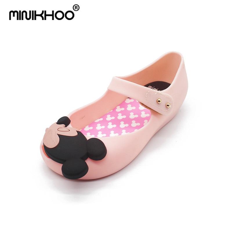 Mini Melissa 2018 Cartoon Girls Jelly Sandals Girls Sandals Jelly Sandals Bow PVC Soft Children Sandals Rain Shoes 15-18cm
