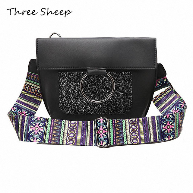 Colorful Wide Strap Shoulder Bag 2017 Women Summer Crossbody Sequins Hasp Glitter Small Sling Designer Handbags Sac A Main