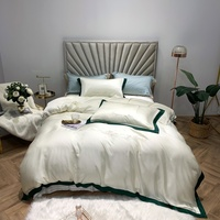 2019 White Tencel Bedclothes Simple Fashion Bed Sheet Duvet Cover Sets 4pcs Bedding Set