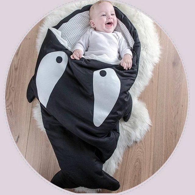 WENDYWU Cartoon Shark Sleeping Bag Baby Sleeping Sack Winter Strollers Bed Swaddle Blanket Wrap Cute Cotton Bedding Sleep Sack