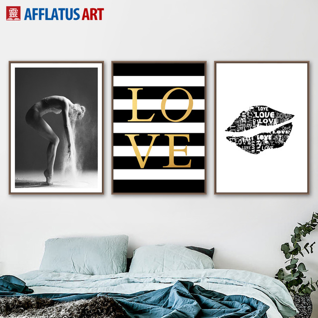 Ballet Love Lip Wall Art Canvas Painting Nordic Posters Prints Black White