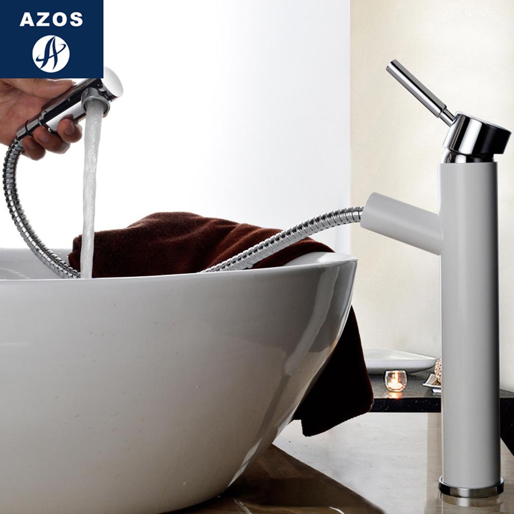Modern Bathroom Faucet Pull Out Single Handle Swivel Spout Vessel Sink Mixer Tap Brushed Nickel Chrome Polish 2 Color CLMP006Z modern nickel brushed bathroom basin faucet single handle vessel sink mixer tap