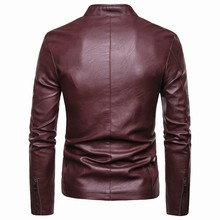 New Motorcycle Causal PU Leather Warm Jacket Coat Men Spring Fashion Masculinas Windproof Jacket Overcoat Men