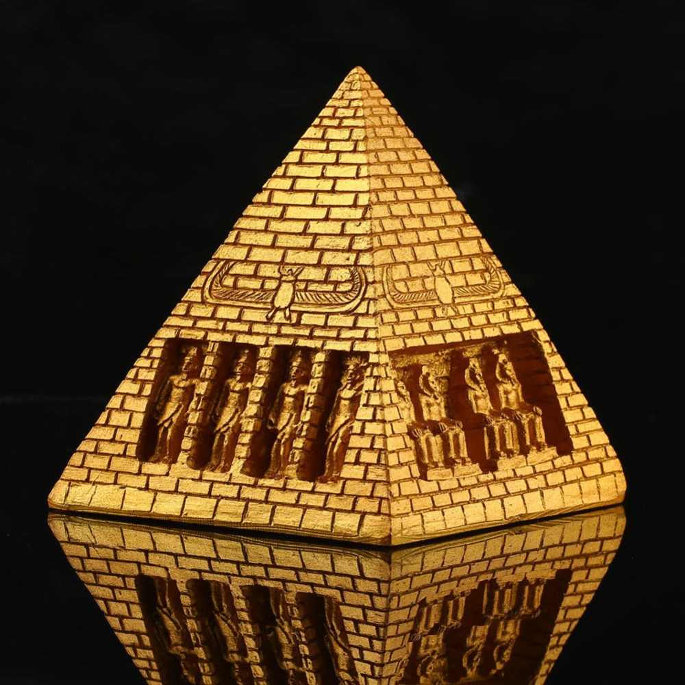 Golden Resin Egyptian Pyramid Statue Antique Collection Aquarium Fish Tank Home Decoration Ornament