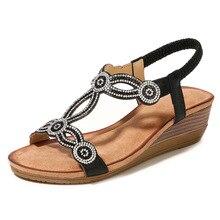 цена на 2019 Women Wedge Sandals Gladiator Sandals Women Beach Shoes Casual Flip Flops Thong Platform Shoes Plus Size 35-42