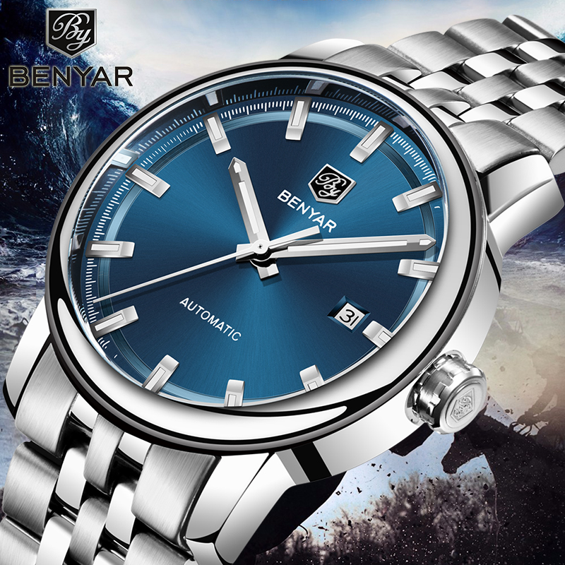 New Men's Watches Benyar Fashion Automatic Mechanical Wristwatches Mens Waterproof Sport Clock Steel Watch Men Relogio Masculino-in Mechanical Watches from Watches