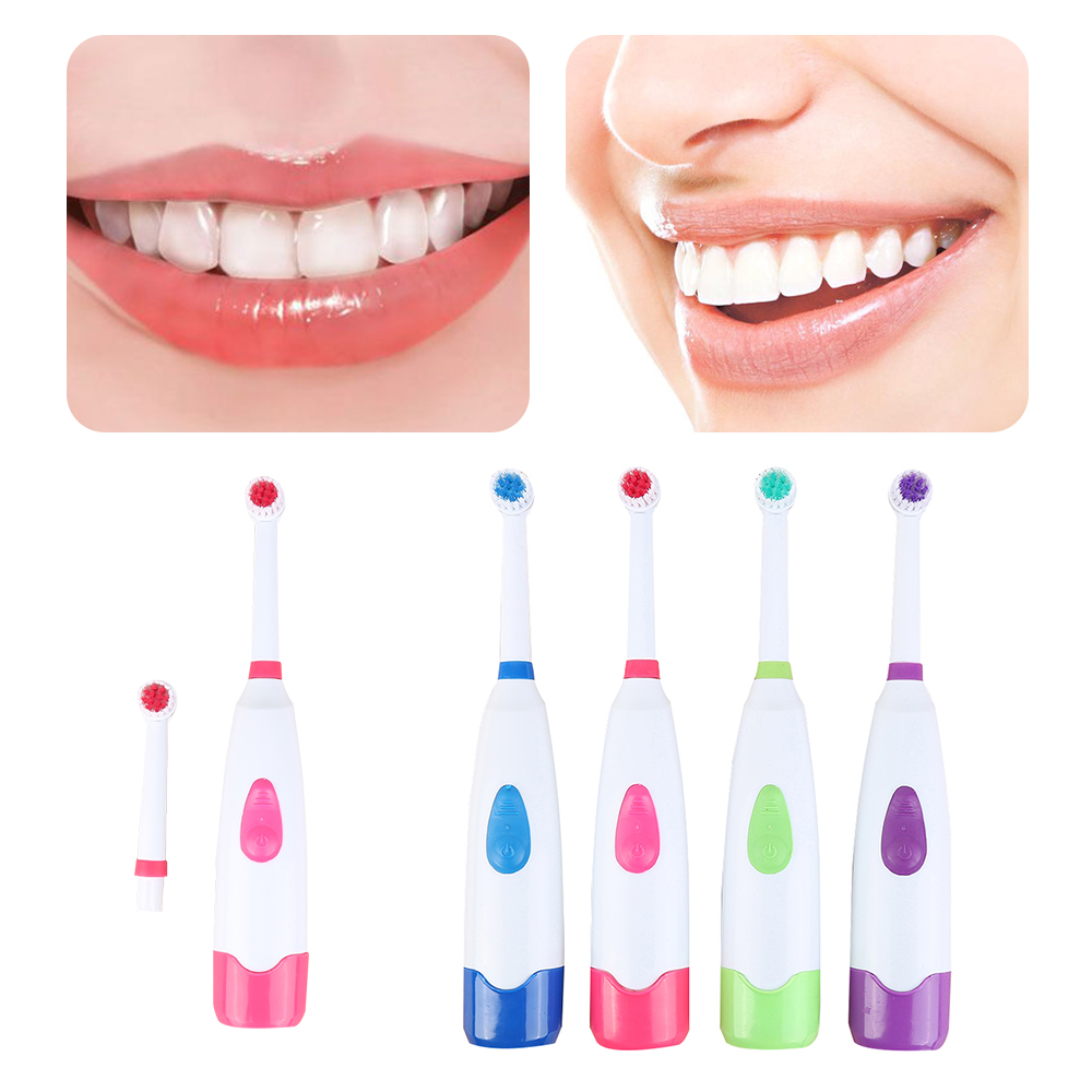 Rotating Waterproof Electric Toothbrush Anti Slip with 1 Replaceable Brush Heads Powered By Batteries Tooth Brush Best Gift image