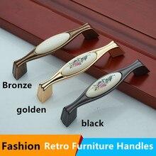Retro rural ceramic furniture handle 128mm white porcelain dresser handle 96mm bronze black kitchen cabinet drawer pull knob 5″