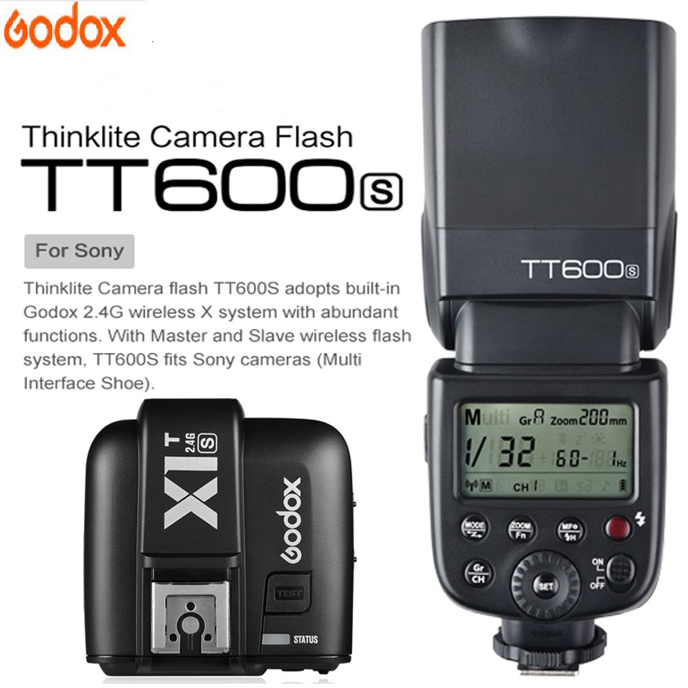 Godox TT600 For Sony a6000 a7II a7 a7r a7s TT600S Flash With TTL 1/8000s XSystem Flash Speedlite + X1T S Transmitter Trigger