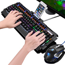 New 104 Keys Real Mechanical Keyboard Blue Black Switch Rainbow LED Backlight Computer Gaming Keyboard Mouse Combo все цены