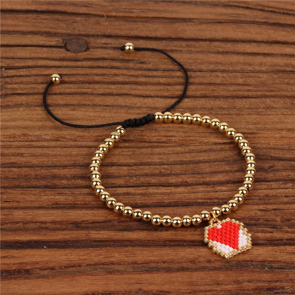 Trendy 4mm Copper Beads Bracelet Women Miyuki Handmade Red Heart Charm Pendant Bracelets Female Lovers Jewelry Pulsera