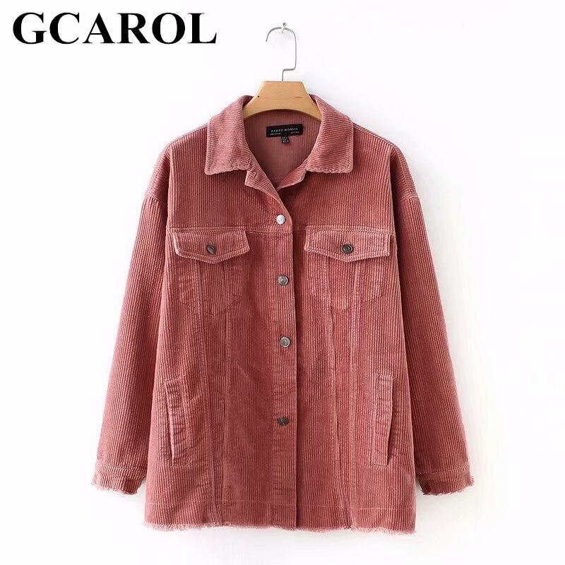 GCAROL New Striped Corduroy font b Jacket b font Turn Down Collar 4 Pockets Single Breasted