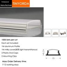 Tinyorda 1000 шт.(длина 1 м) светодиодный профиль Alu светодиодный профиль канала для 9,9 мм Светодиодные полосы света 1 м светодиодный профиль Alu профильный кабельный канал