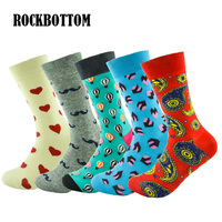 ROCKBOTTOM 5 Pairs Lot Cotton Fashion Funny Mens Socks Color Colorful Socks Man Casual In Tube