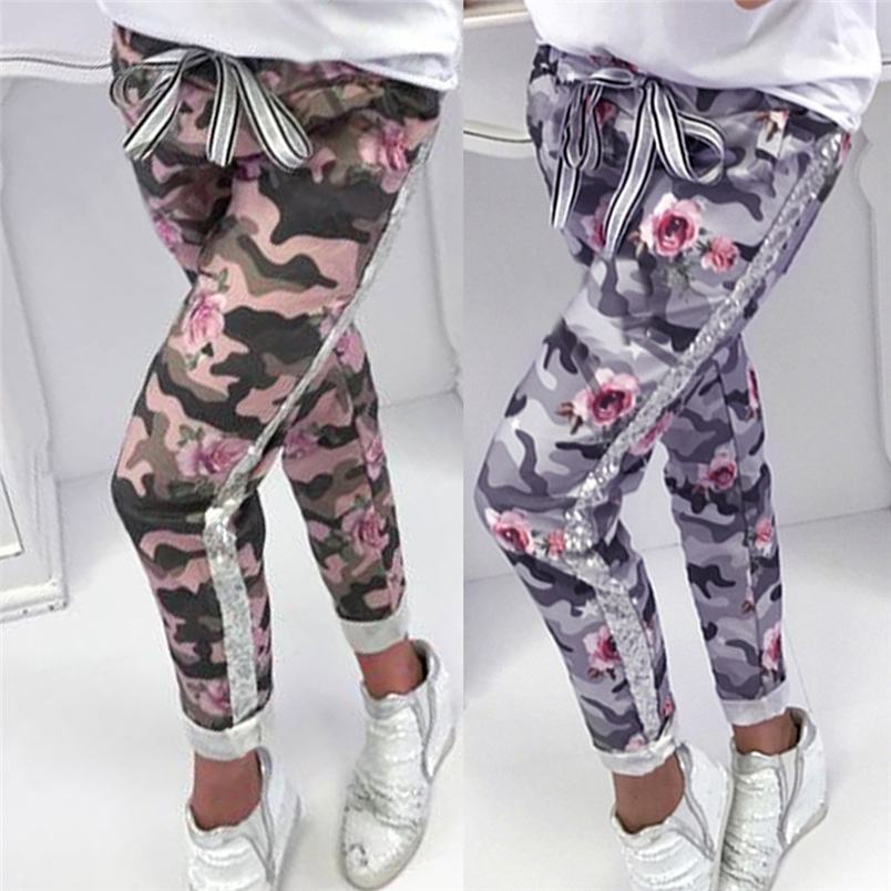 Fashion Womens Pants 2018 New Arrival Comfortable Sequins Camouflage Print Bandage Patchwork Mid Waist Long Pants Trousers F#J12 (3)