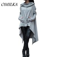 OMILKA 2017 Outono Mulheres Camisa de Manga Longa Com Capuz Vestido Casual Plus Size Assimétrico Frontal Dorso Curto Longo Vestido Clube Do Partido