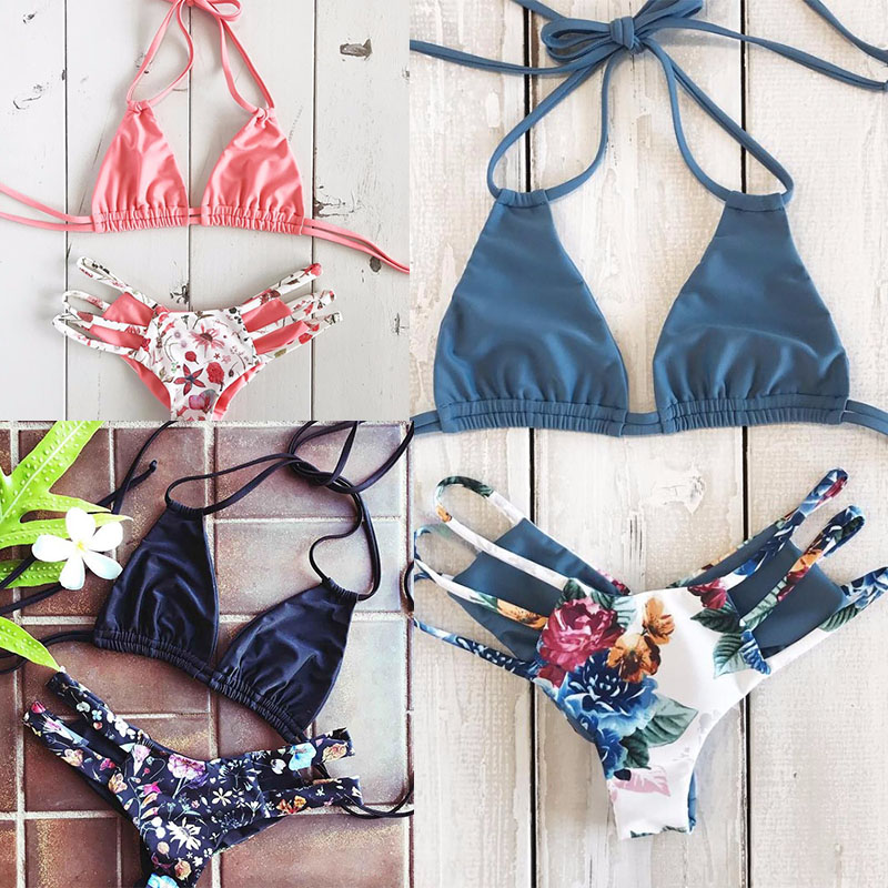 2018 Sensuais de Biquíni Swimwear Mulheres Push Up Swimsuit Bandage Bikini Set Verão Brasileiro Biquini Trajes de Banho de Praia feminino Impressão